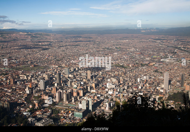Bird's eye view of Bogota from Monserrate Peak, Bogota, Colombia - Stock Image