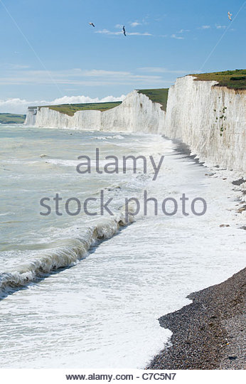 The Seven Sisters cliffs from Birling Gap, South Downs National Park, East Sussex, England. - Stock Image