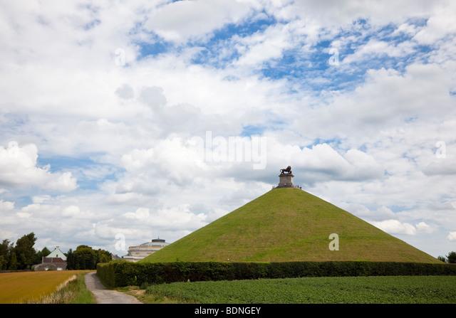Lions Mound memorial to the Battle of Waterloo overlooking the battlefield at Waterloo Belgium Europe - Stock Image
