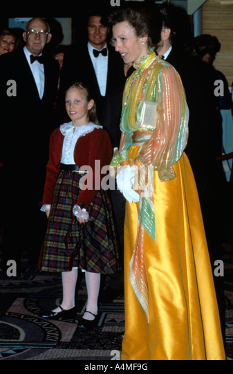 The Princess Royal and daughter Zara Phillips at a film premiere in London, UK in April 1990. - Stock Image