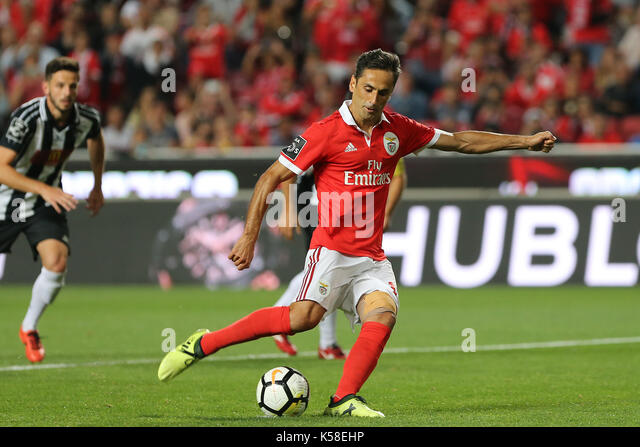 Benfica«s forward Jonas from Brazil taking a penalty during the Premier League 2017/18 match between SL Benfica - Stock Image