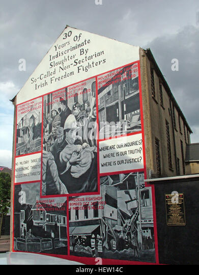 Shankill Road Mural -30 years of Slaughter, West Belfast, Northern Ireland, UK - Stock Image