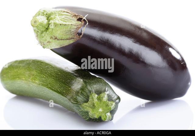 Aubergine and zucchini, close-up - Stock Image