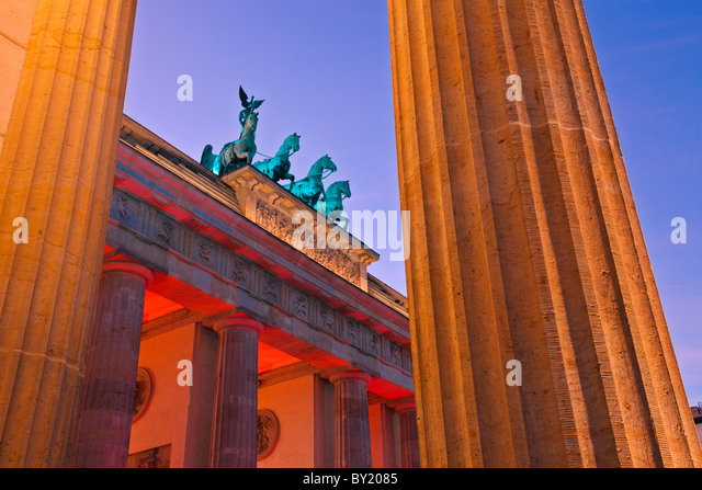Germany,Berlin,Brandenburg Gate illuminated at dusk during the Festival of Lights - Stock Image