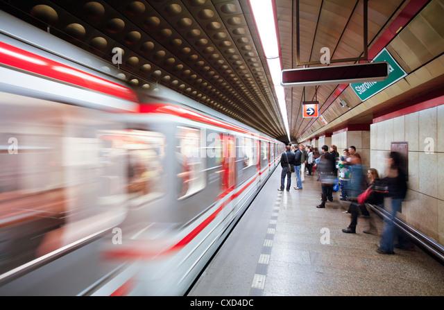 Futuristic underground Metro station decoration in Prague, Czech Republic, Europe - Stock Image