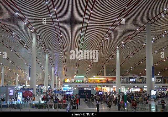 Beijing China Beijing Capital International Airport PEK Terminal 3 inside interior design - Stock Image