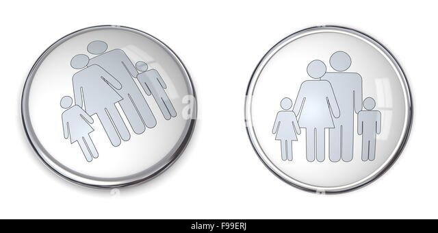 3D Button Family With Kids Pictogram - Stock-Bilder