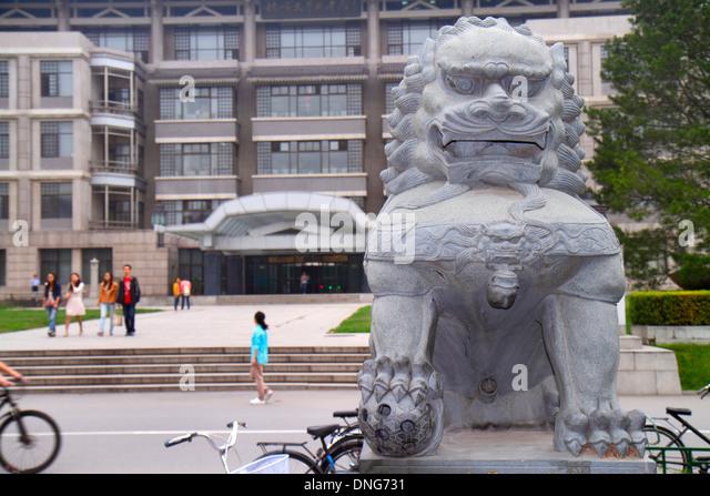 China Beijing Haidian District Peking University PKU Beidà higher education campus ornamental stone lion - Stock Image
