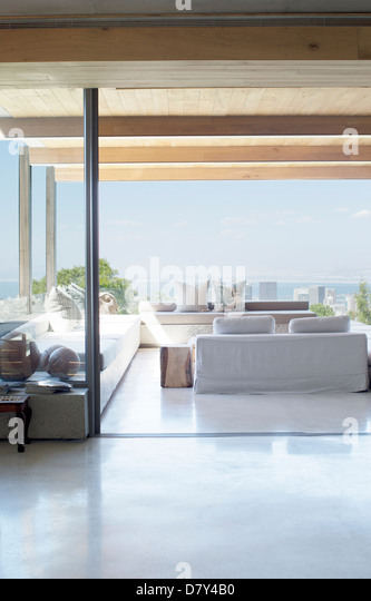 Open floor plan of modern house - Stock Image
