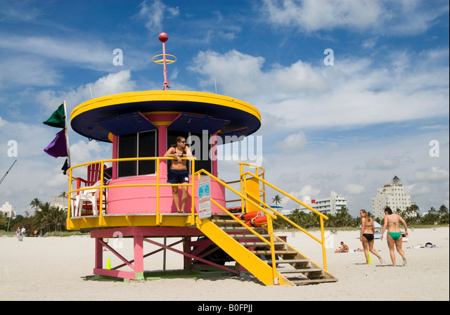 Art deco beach patrol station on South Beach Miami Florida USA - Stock Image