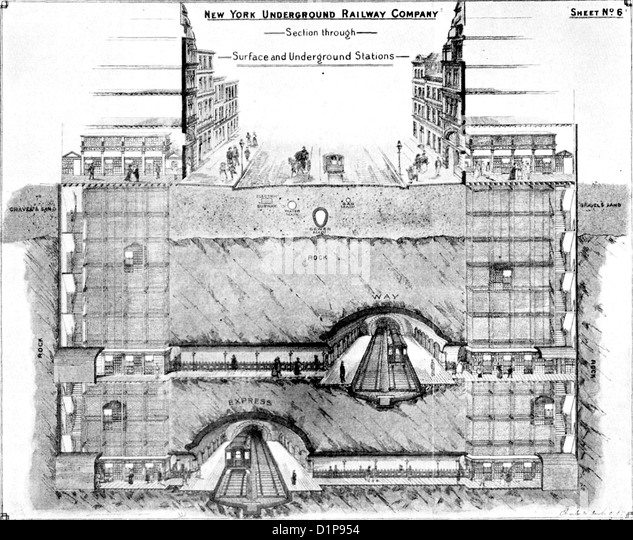 Illustration showing the historic New York Underground, USA - Stock Image