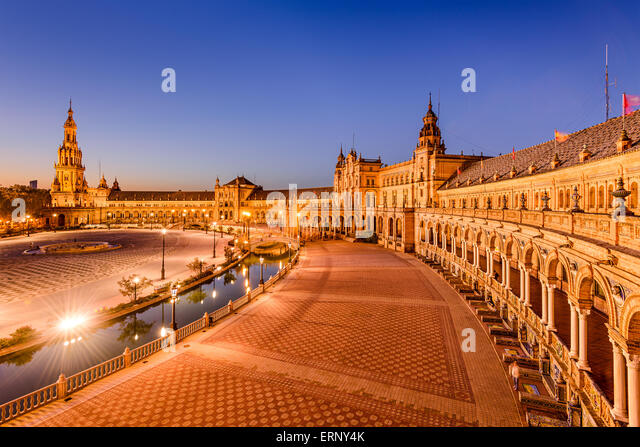 Seville, Spain at Plaza de Espana. - Stock Image