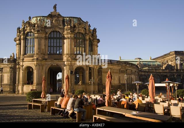 DEU Dresden Saxony Wallpavillon Zwinger street cafe - Stock Image