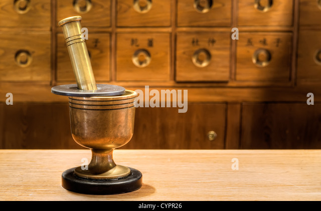 Antique traditional Chinese medicine tool in pharmacy. - Stock Image