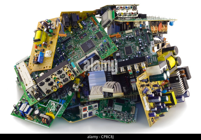 Printed-circuit boards of various electronic systems prepared for processing. Isolated on white. - Stock Image