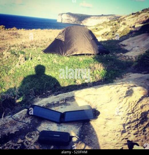 Camping on the cliff tops of Malta - Stock Image