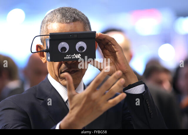 Hanover, Germany. 25th Apr, 2016. US President Barack Obama visits the booth of ifm electronic (automation engineering) - Stock Image