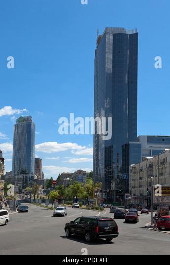 Office buildings, Lesi Ukrainky Boulevard, Kiev, Ukraine, Europe - Stock Image