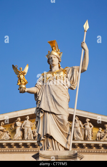 Austria, Vienna, Parliament Building, Statue of Athena - Stock Image