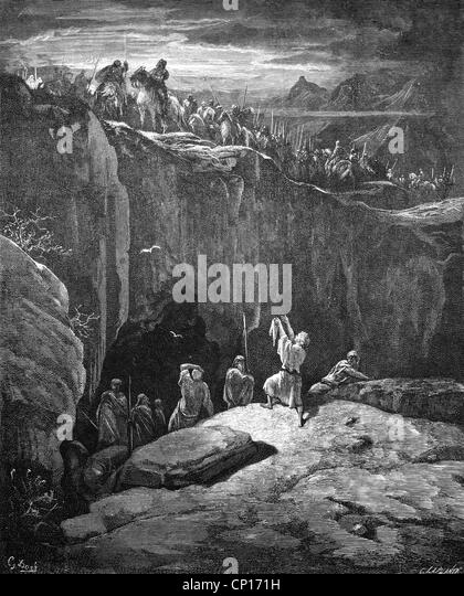 religion, biblical scenes, David shows Saul that he spares him, wood engraving to the Bible by Gustave Doré, - Stock Image