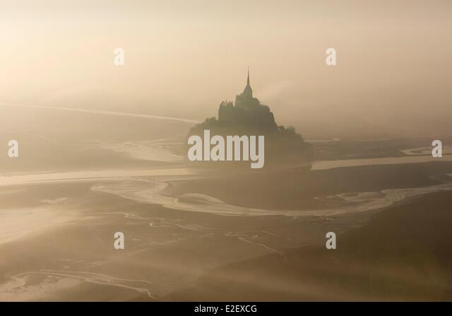 France, Manche, Mont Saint Michel bay, listed as UNESCO World Heritage, Mont Saint Michel (aerial view) - Stock Image