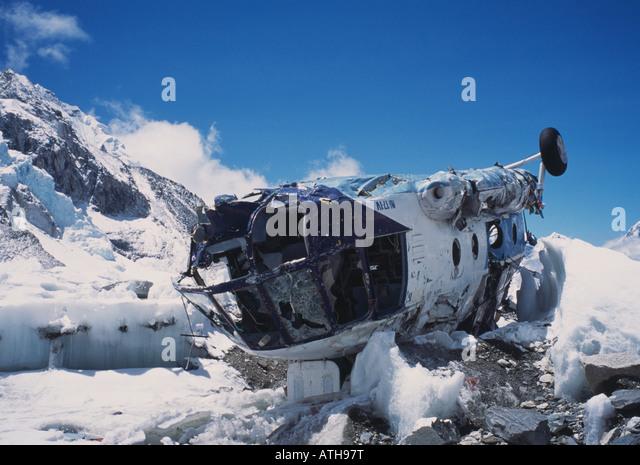 crashed helicopter, Everest Base Camp, Nepal - Stock Image