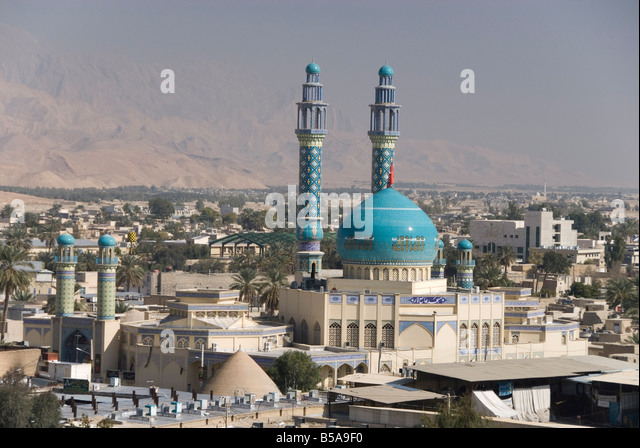 Minarets and dome of main mosque centre of desert town Lar city Fars province southern Iran Middle East - Stock Image