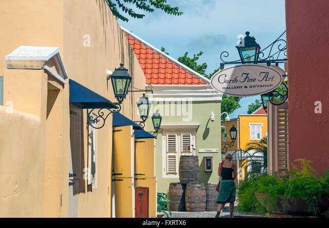 Historical preservation area with art gallery at Kura Hulanda, Ortrobanda Willemstad Curacao - Stock Image