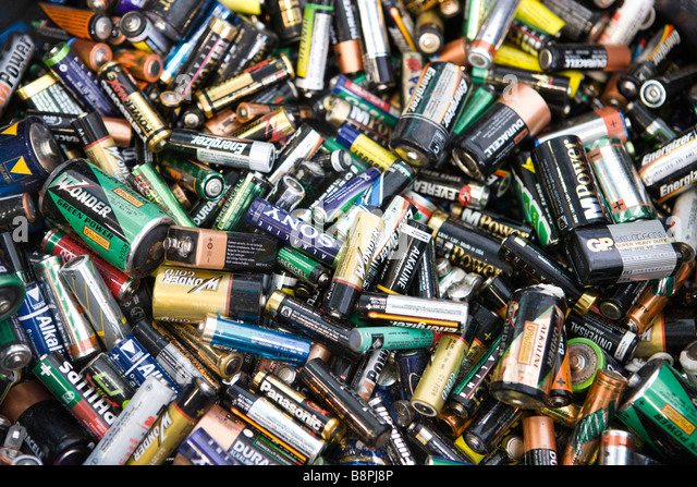 Used batteries, close-up, full frame - Stock Image