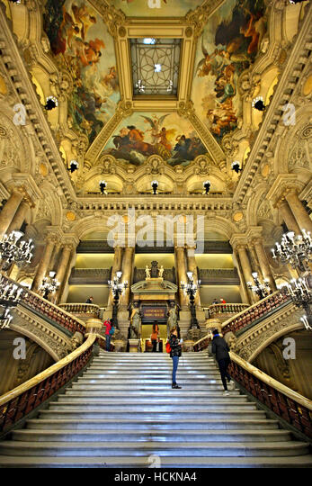 The Grand Staircase in Palais Garnier, National Opera House, Paris, France. - Stock Image