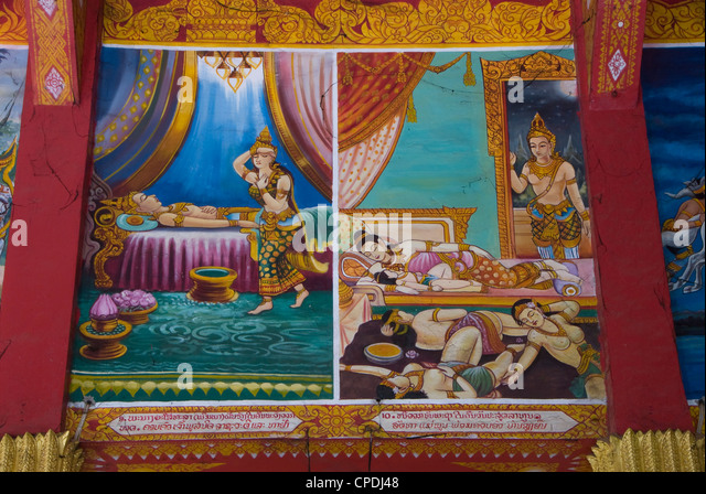 Panel paintings, Wat Ong Yeu, Vientiane, Laos, Indochina, Southeast Asia, Asia - Stock-Bilder