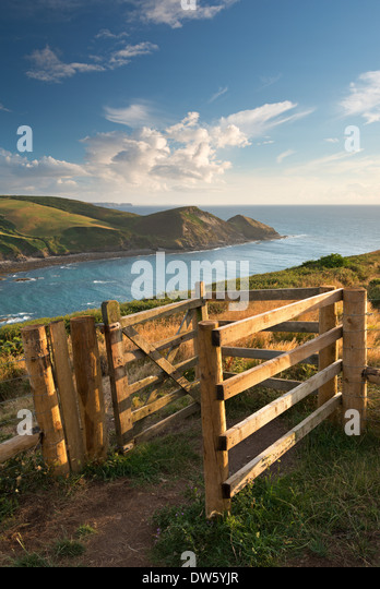 Kissing Gate on the South West Coast Path near Crackington Haven, Cornwall, England. Summer (August) 2013. - Stock Image