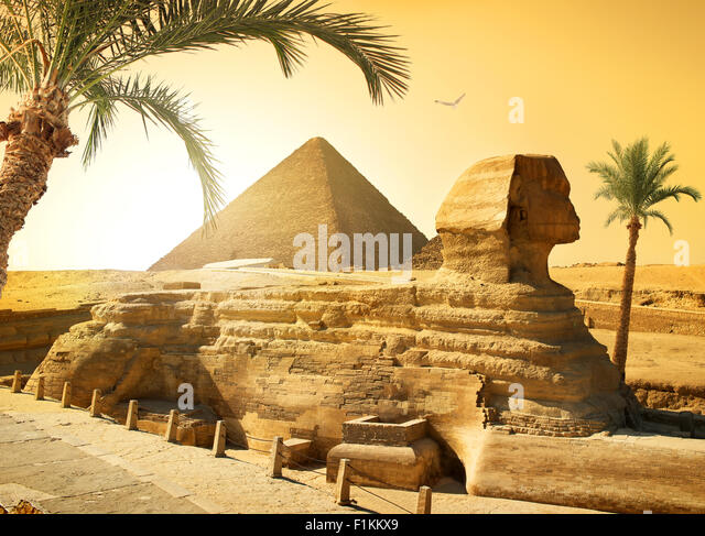 Palms near sphinx and pyramid in egyptian desert - Stock Image