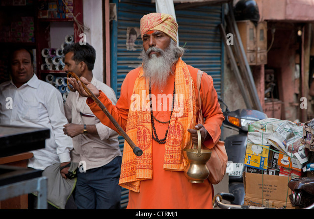 Hare Krishna follower in the streets of Jaipur, Rajasthan, India - Stock Image