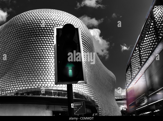 Birmingham Selfridges Bullring with a no 50 Bus passing. Reflections in the bus. - Stock Image