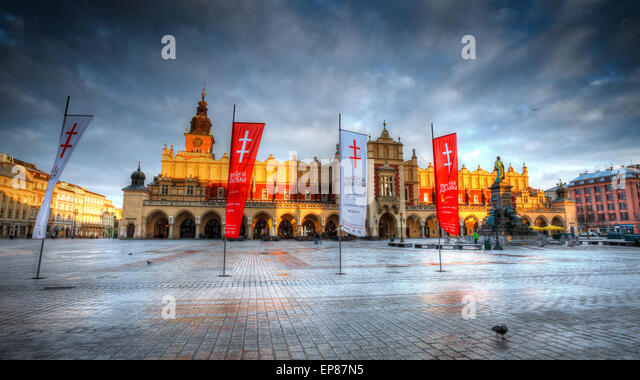 The Cloth Hall in the main square of Krakow, Poland - Stock Image