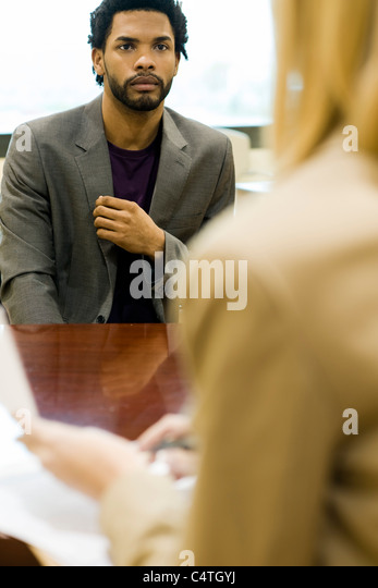 Professional man in job interview - Stock Image
