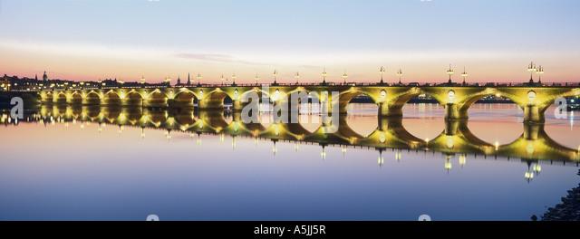 The Old Bordeaux. Le Pont de Pierre. The Garonne river. France - Stock Image