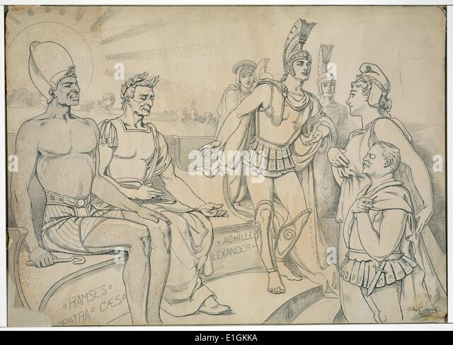 Pallas Columbia requests for him a place in history by Otho Cushing - Stock Image