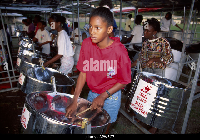 Grenada St. George's steel drum band students musicians culture - Stock Image