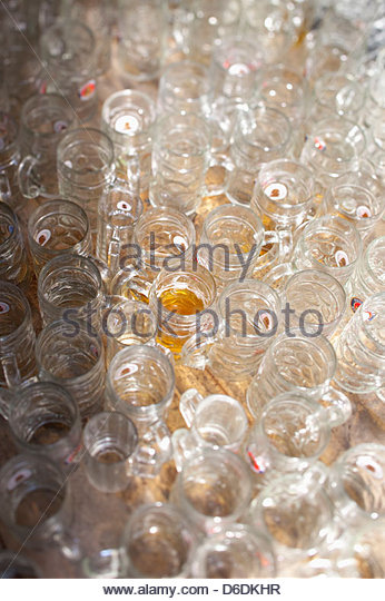 Oktoberfest liter beer mugs Munich Germany - Stock Image