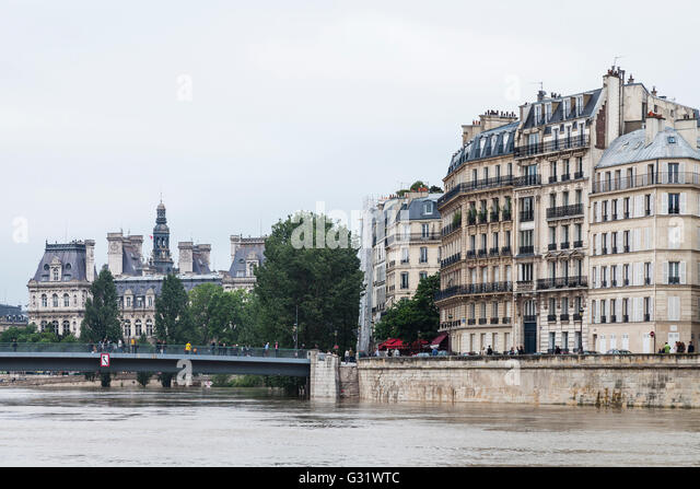 Flood in Paris, Ile de St.Louis, Hôtel de Ville, 2016 - Stock Image