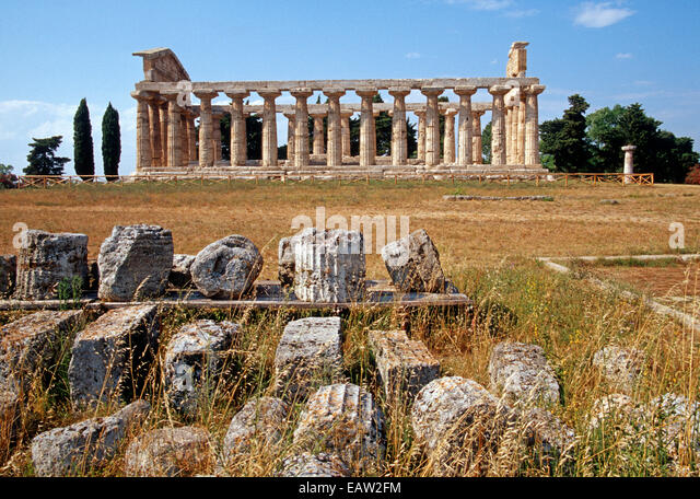 Greek Temple of Athena in ancient city of Paestum dates from 6th century B.C. named for virgin Goddess of Wisdom - Stock Image