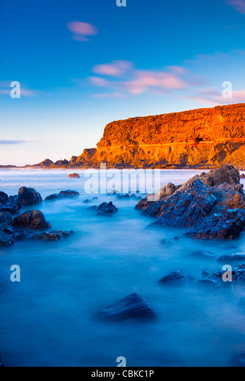 Evening light on empty beach Fuerteventura Canary Islands Spain - Stock Image
