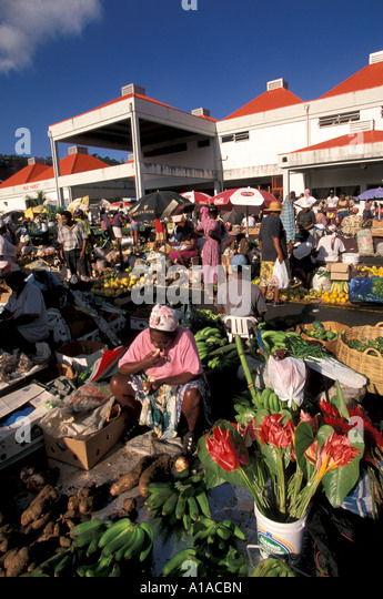 Caribbean St Lucia  Castries Saturday produce market - Stock Image