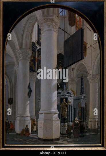 Tomb of William the Silent in the Nieuwe Kerk in Delft, by Gerard Houckgeest, 1651, Royal Art Gallery, Mauritshuis - Stock Image