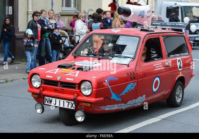 Robin Reliant Automobile at German Street Carnival - Stock-Bilder