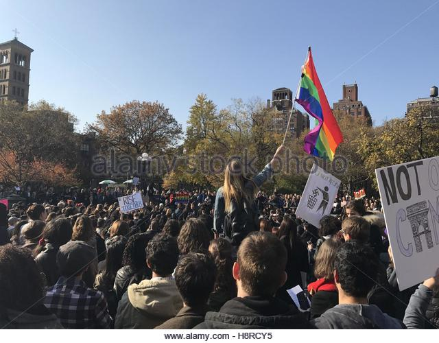 Washington Square Park, United States. November 16th, 2016. Thousands protest in Washington Square Park against - Stock Image