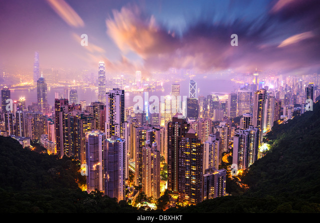 Hong Kong, China skyline from Victoria Peak. - Stock Image