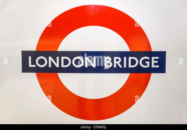 London Bridge , Metro Sign, London, United Kingdom - Stock Image